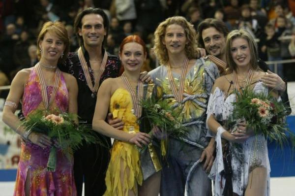 Илья Авербух, Ирина Лобачёва (справа), Марина Анисина (в центре) - призеры Олимпиады