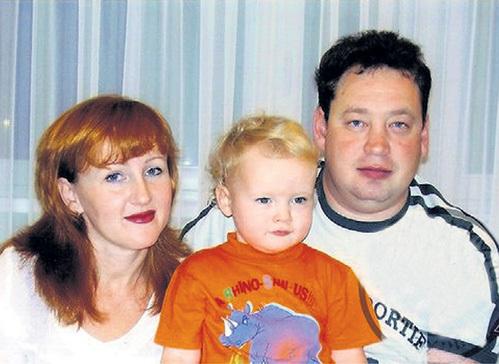 Леонид Слуцкий с женой и сыном