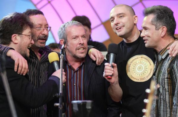 Андрей Державин с участниками группы «Машина времени»