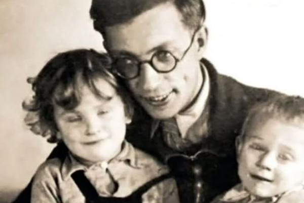 Лев Ошанин с сыном и дочерью