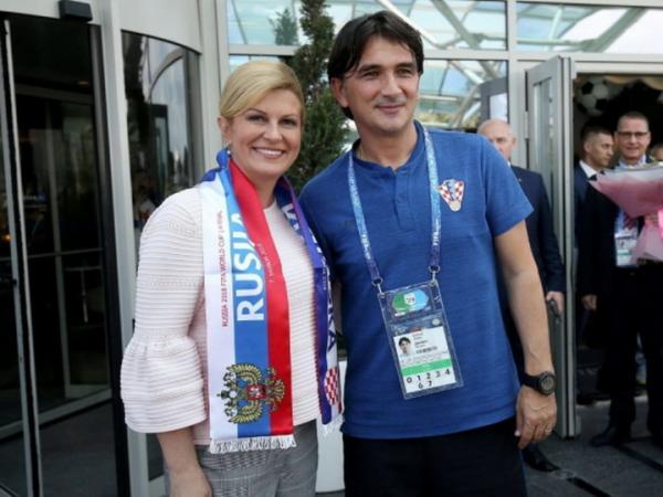 Златко Далич с президентом Хорватии Колиндой Грабар-Китарович